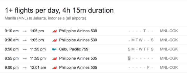 Manila to Jakarta Flight Schedule