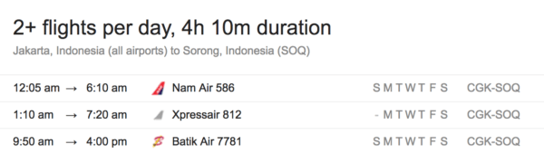 Jakarta to Sorong