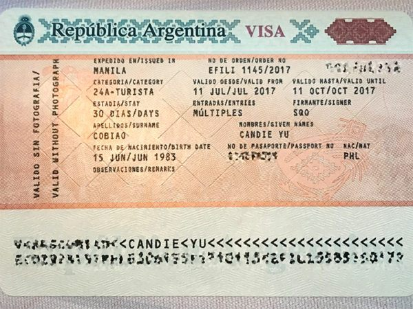 argentina visa issued in the philippines