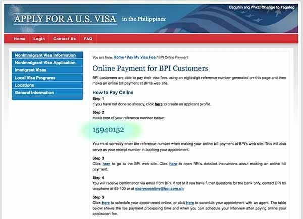 online payment form US visa